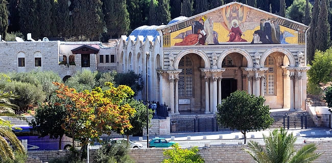 Prayer at the Church of All Nations in Jerusalem during your Christian Holy Land Tour of Israel